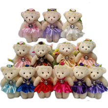 NEW 12CM 10pcs/lot pp cotton kid toys beaded diamond plush doll mini small teddy bear flower bouquets bear for wedding(China)