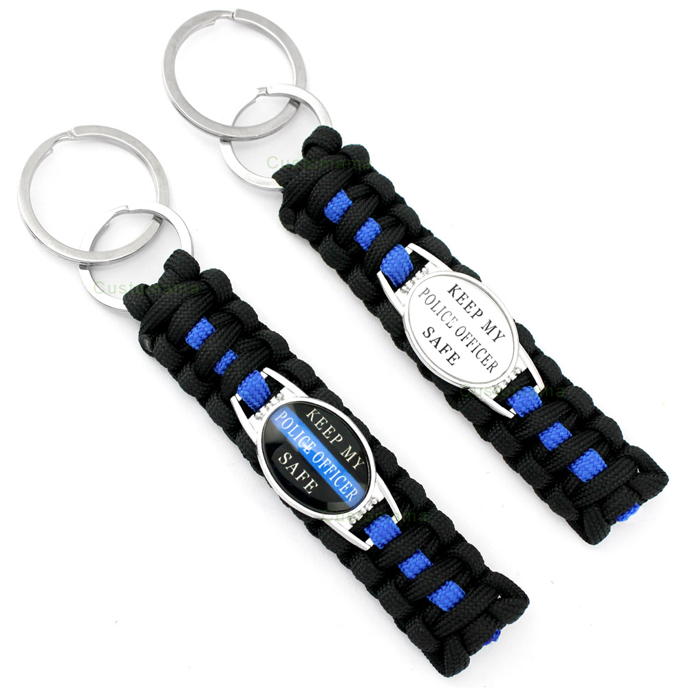 Policeman Deputy Police Daughter Son Dad Mom Sister Wife Aunt Grandma Husband Survival Paracord Key Rings Keychains Key Chains 30