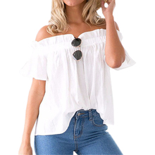 Women Clothing Ruffle Off Shoulder Tops Beach Summer Blusas Solid Chiffon Blouse Slash Neck Loose Short Sleeve Sexy Shirts GV666