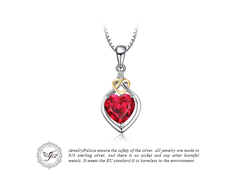 JewelryPalace Love Knot Heart 2.5ct Created Red Ruby Anniversary Pendant 925 Sterling Silver 18K Yellow Gold Without a Chain 25