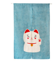Joyous Lucky Cat Japanese Culture Sun Shade Cotton Curtain Bedroom Living Room Entrance Cloth Curtains Home Decoration Gift