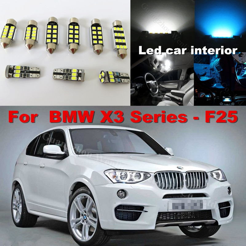 WLJH 20x Canbus Pure White Car Light Bulb Dome Map Vanity LED Interior lighting kit for BMW X3 Series F25 2011 2012 2013 2014<br>