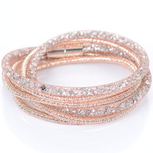 Crystal Bracelets Mesh Chain With Full Resin Crystal Magnetic Double Wrap Bracelet For Kim Kardashian Women Jewelry(China)