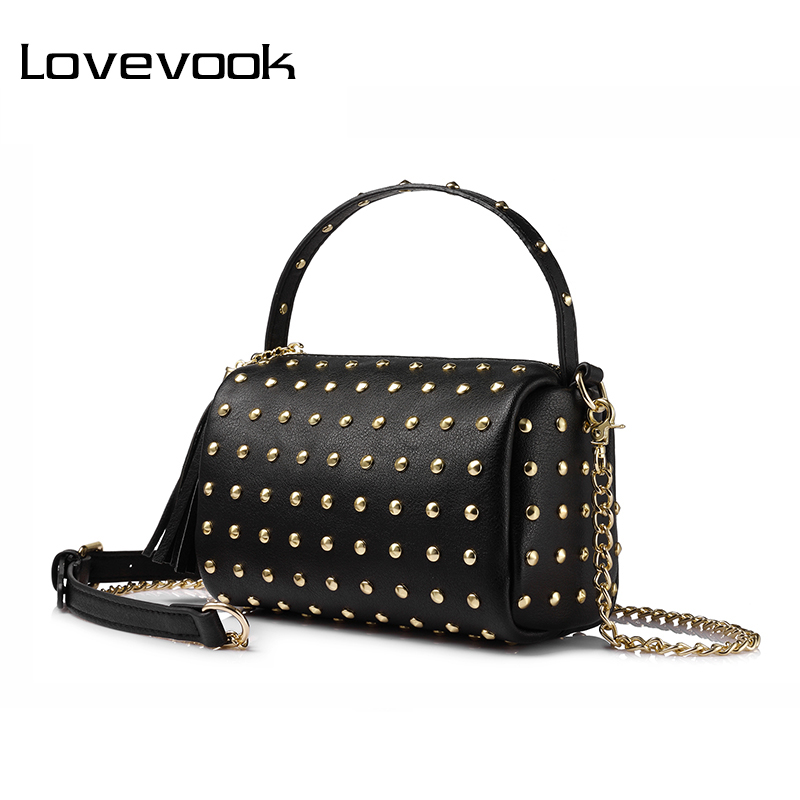 LOVEVOOK brand chain shoulder bag for women small handbag purse with rivets female tassel crossbody bags mini clutch Gold/Black(China)