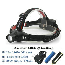 Portable MINI head flashlight CREE XM L Q5 Bike Zoomable LED headlamp for Head Torch Hot promotion Head lamp LED Headlight