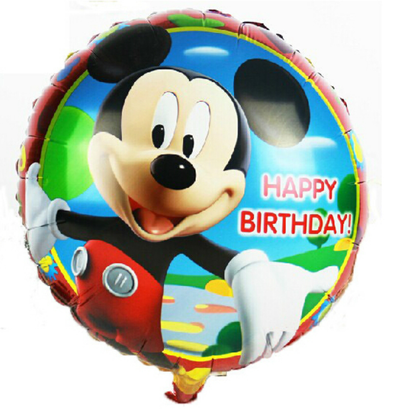 baby boy son 18inch happy birthday mickey mouse party foil balloons baloes festa(China)