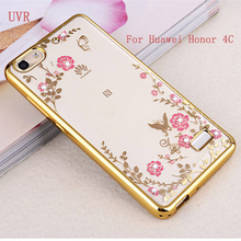 Buy UVR Huawei Honor 4C Case Soft TPU Rhinestone Luxury Gold Plating Transparent Bling Phone Back Cases Honor4C Cover for $1.89 in AliExpress store