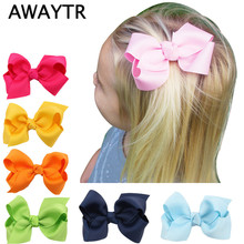 AWAYTR 6cm 2Pcs/Lot Girls Hair Bows with Clips Infant Hairbows Ribbon Bow Hair Clip Children Girls Hairclip Baby Hair Clips(China)
