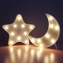 Buy Lovely Led Night Light Table Lamp Fillet Star Moon Lamps Romantic 3D Wall Lamp Marquee Sign Kids Children Gift Bedroom Decor for $13.14 in AliExpress store
