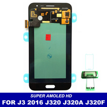 AMOLED LCD Screen For Samsung J3 2016 J320 Full Lcd Display J320M J320PJ320Y J320F Touch Screen Digitizer Assembly Replacement