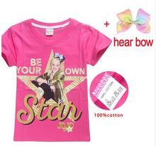 2018 Lovely 100% Cotton T Shirts for Girls Summer Jojo Siwa Big Girl T-shirt Teenage Clothing Choses Tops Tees Kids Clothes(China)