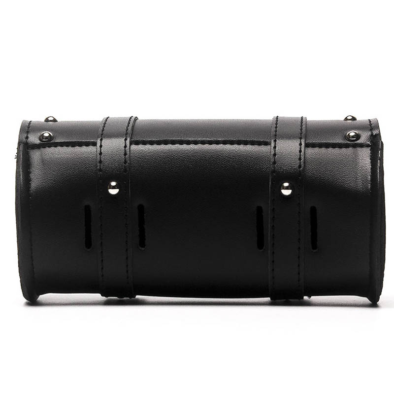 Motorcycle Black Front Side PU Leather Luggage Saddlebag Roll Barrel Tool Bag Pouch Plastic Buckles Universal For Harley