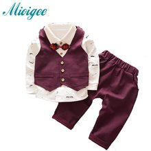 2017 New Spring Baby Boys Clothing Sets Kids Clothes Sets Toddler Boys Clothing Baby Boy Clothes Gentleman Suit bow Tie(China)