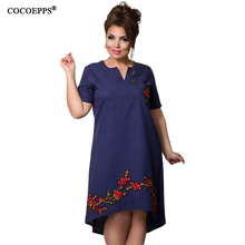 2017 Summer Fashion 5XL 6XL Floral Embroidery Asymmetrical Dresses Large Plus Big Size V-Neck Women Dress Loose L-4XL Clothing