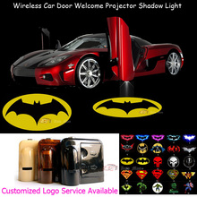 2x Wireless Sensor No Need Drilling Car Welcome Laser Projector Yellow Dark Knight Batman Logo Ghost Shadow LED Light 0124