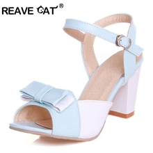 REAVE CAT Big size 34-47 Fashion Brand Buckle Bowtie Peep toe Summer style Ladies Women sandals Mid heel Purple Pink Blue PL197