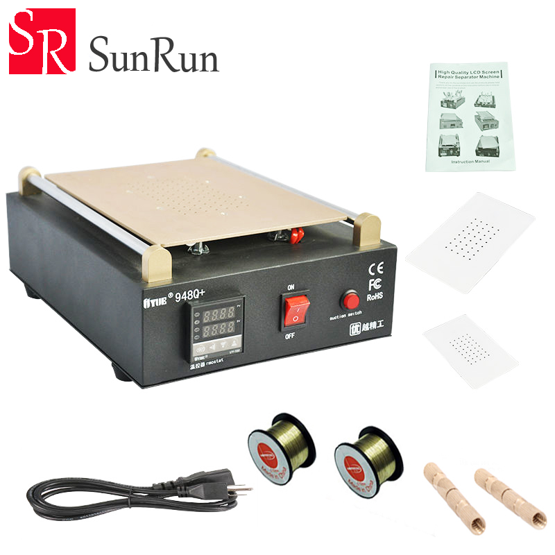 UYUE 948Q+ Build-In Vacuum Pump LCD Separator Machine Max 11 inches Lens Glass Repair For iPhone Samsung with Free Cutting Line
