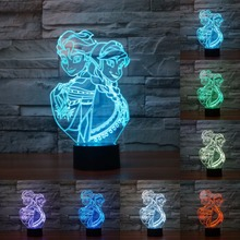 Snow Queen Princess Elsa Anna Action Figure Night Light Color Changed 3D Bulb Lamp USB Table Touch Lamp For Kids Gift IY803428(China)