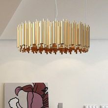 Delightfull brubeck chandelir Light Gold Tube Suspension Luminaire lamp lighting aluminum Modern Italy design for hotel