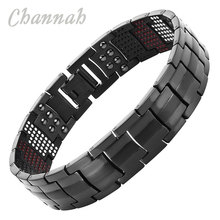 Channah 2017 Men 4in1 Magnets Negative Ions Germanium Far Infra Red Titanium Bracelet Black Bangle Fashion jewelry Charm