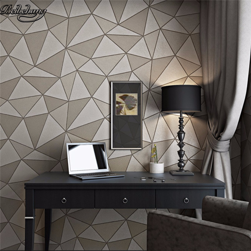 beibehang High - grade thick imitation leather pattern waterproof wallpaper modern simple geometric pattern triangle background <br>