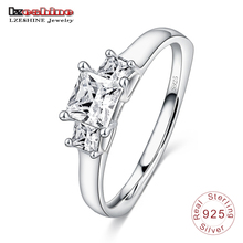 LZESHINE Authentic 925 Sterling Silver Women Ring with Square Shape AAA Cubic Zircon Forever Wedding Ring Bijoux SRI0053
