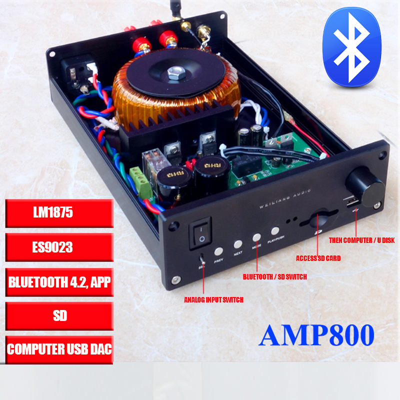 AMP800 CSS ES9023 LM1875 USB DAC audio Amplifier Bluetooth 4.2 SD Analog Input 30w*2