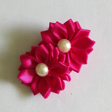 pearls flower clips 2inch satin ribbon daisy kanzashi hair flower with clip girls hairclip barrettes kids hair accessories