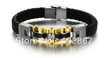 Gold Silver Top Quality Genuine leather Stainless Steel Bracelet Men's Wristband Bangle Power Gifts n809(China)