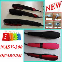 Easy hand Fast Hair Straightener Comb NASV-300 Hair Straight Brush Ceramic Hair Straightening Brush With Anion And Lock(China)