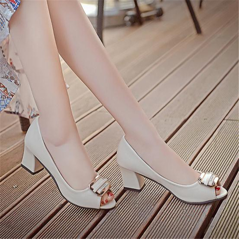 2017 Seasons in documentary shoes female fish mouth shoes sandals heels thick with professional work<br><br>Aliexpress