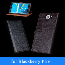 Wobiloo New Fashion Flip Cases for Blackberry Priv Case Top Grade Genuine Leather Stand Phone Wallet Cover for Black Berry Priv