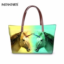 INSTANTARTS 3D Animal Print Women Handbags Ice Fire Unicorn Horse Wolf Tote Bag for Female Shopping High Quality Top Handle Bag(China)