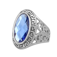 Hot cheap antique jewelry Oval Black and blue enamel rings for women silver plated crystal gifts(China)