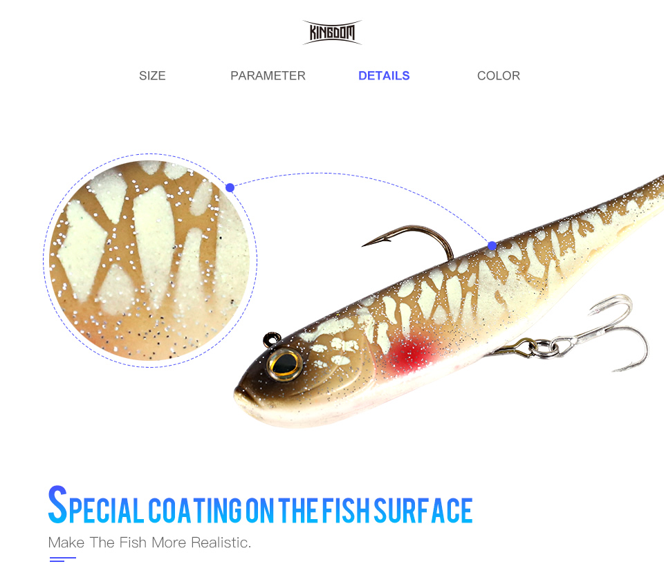 Kingdom Fishing Lures Spinator Soft Lure 200mm 52g wobblers With Spoon On Tail Sinking Action Artificial Bait PVC Material Fishing Lure (4)