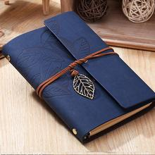 Hot Vintage Notebook paper 80 sheets leather Diary Journal Spiral kraft Notebook notepad Office School Supplies Gift note book(China)
