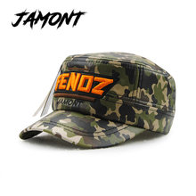Camouflage Winter Military Hats For Children PU Baseball Caps For Kids Baby Flat Top Snapback Hat For Boys And Girls Army Hats