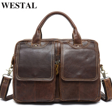 WESTAL Men's Briefcase Leather Laptop Bag 14'' Genuine Leather Men Bag Men Messenger Shoulder Bags Men's Crossbody Bags Handbags