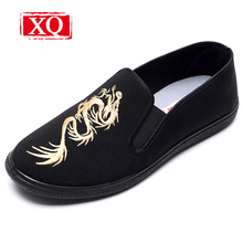 XQ Fashion Chinese Dragon Breathable Old Beijing Cloth Shoe Chinese Kong Fu Men Flat Casual Shoe Lightweight Antiskid Shoes T317(China)