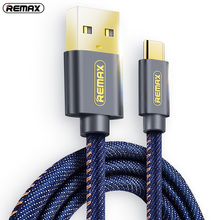 Remax Type C USB C Cowboy Braided Data Sync Cable 2A Fast Charging Cables Samsung Galaxy S8 xiaomi Mi5 Mi6 Phone cord