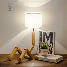 E27 Modern Fold Black white lampshde Creative Blockhead wooden table lamp for bedroom Kids Room living room Lamparas De Mesa(China)