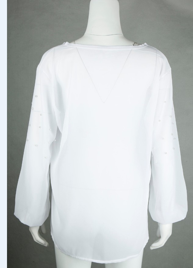 Elegant Pearls Beading Shirts Long Sleeve V Ncek White Chiffon Shirt Pleated Chic Blouse Office Lady Casual Tops Blusas WS6098O 6
