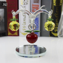 JQJ Artificial Christmas Tree With 3 PCS Crystal Apple Hanging Ornaments White Christmas Village Crafts For Home Decoration 2017