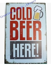 Free shipping Retro Beer Sign Wall Decor Vintage Art Metal Sign Home Bar Pub Man cave ,30x20cm(China)