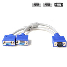 XPFNewest Best Price!!  New 1 To 2 VGA SVGA Monitor Y Splitter Cable Lead 15 Pin for Table Computer Free Shipping NOM04