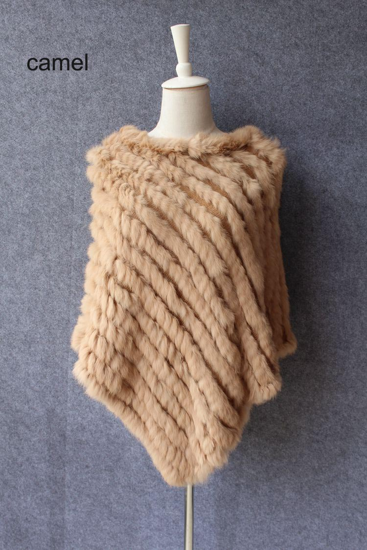 natural knitted rabbit fur scarf wraps (16)