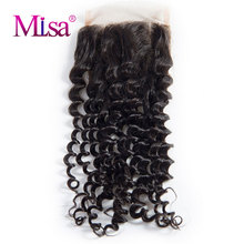 "Mi Lisa Curly Hair Closure 100% Human Hair 4""x4"" Lace Closure Free Ship Remy Hair Free Part 130% density Siwss Lace(China)"