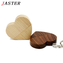 JASTER wooden Heart USB Flash Drive Pendrive 64GB 32GB 16GB 8GB U Disk USB 2.0 Memory Stick photography wedding gifts(China)