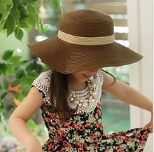 2017 HOT spring children's Straw hat Flower girl cap Baby girl summer hat Girl sun hat Beach visor hat Free Shipping