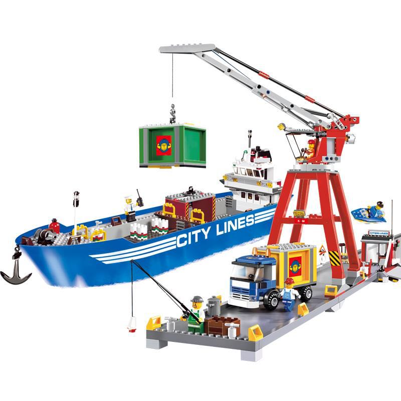 New Lepin 02034 695pcs City Series Super Cargo Port Terminal Building Block Compatible 7994 Brick Toy boy DIY Educational <br>